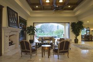 Upscale dining area with coffered ceilings