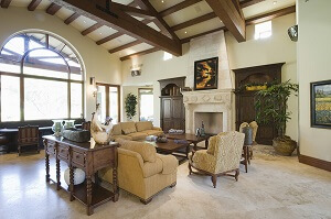 Luxury grand room with vaulted ceilings