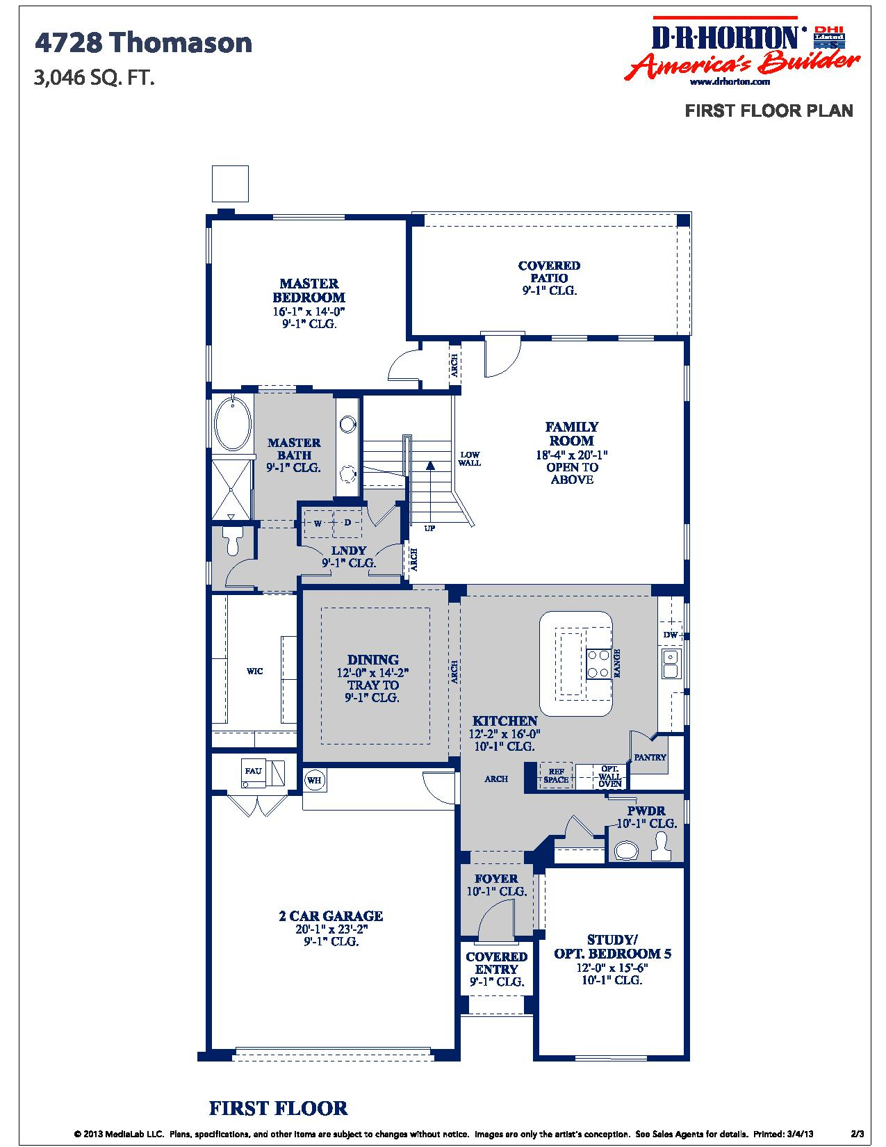 Dr horton thomason floor plan for Dr horton home share floor plans